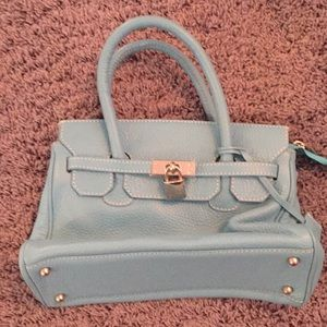 Handbags - Blue bag with White stitching handbag with lock
